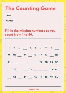 KG Maths Counting Worksheet Free