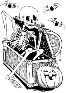 Creepy Skeleton Coloring Pages Halloween