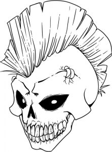 Halloween Scary Skeleton Skull Coloring Pages