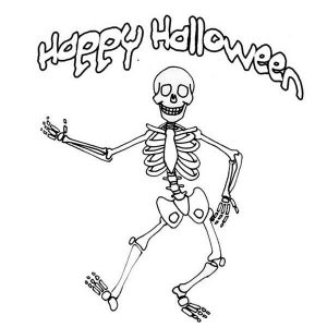 Happy Halloween Skeleton Coloring Pages