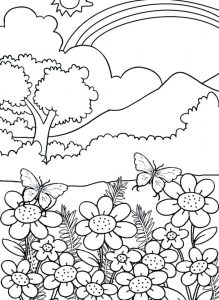 Rainbow and Flowers Coloring Pages